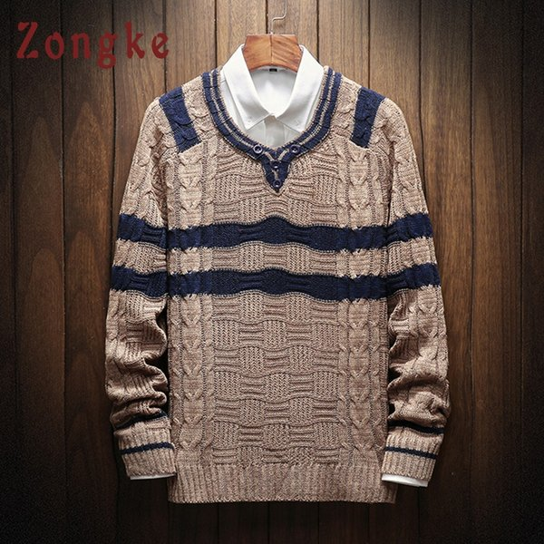 Zongke V Neck Sweater Men Striped Wool Christmas Sweater Men Knitwear Male Pullover For 2018 Winter New