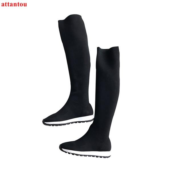 Großhandel Lange Weibliche Ferse Woolen Komfortable Schuhe Winter Outfits Frau Schwarz Mode Flache Herbst Strick Stiefel 2019 Von Elastische 29EIWYDH