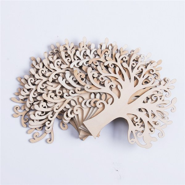 10pcs Wooden Tree Household wall decorations Christmas Drop Ornaments Pendant crafts shape Handmade