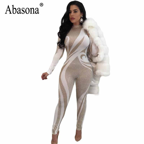 f7ee41610d4b4 2019 Abasoan Long Sleeve Jumpsuits Women Printed Skinny Long Pant Christmas  Party Club Female Overalls Sexy Rompers Womens Jumpsuit From Yujiu, $29.16  ...