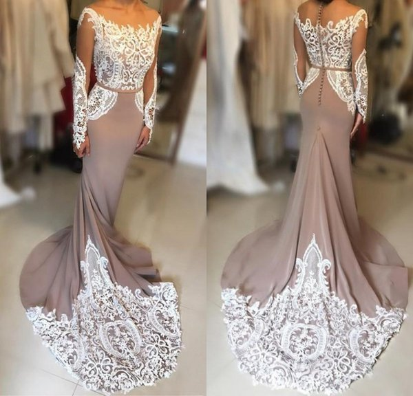 Simple Brown Long Evening Dresses Lace Long Sleeve Jewel Mermaid Evening Gowns Chiffon Floor Length Women Special Occasion Party Dresses