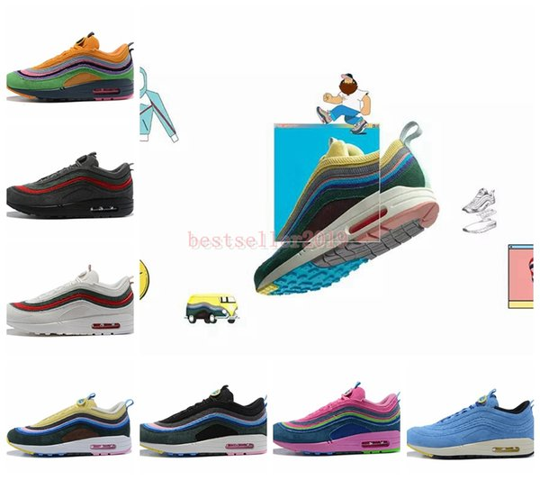 cd44a954b52 2018 Sean Wotherspoon X 97 1 VF SW Hybrid Mens Women Running Shoes  Authentic 97s Ultra Multicolor Trainers Brand Designer Sneakers 36 46 Shoes  On Sale ...
