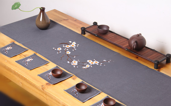 Embroidered Short Coffee Cotton Linen Table Runner Plum blossom Banquet Table Cloth Rectangular Dining Table Mat Placemat Protection Pad