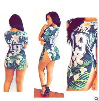 Summer women T-shirts Sexy Digital Print Slim Dress Plant flower prints tops Two side split sports style T-shirt