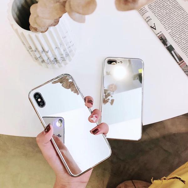 Handyhüllen Zum Selbst Gestalten Luxus Frauen Spiegel Telefon Kasten Für Iphone X 8 7 6s Plus Mädchen Bilden Spiegel Rückseitige Abdeckungs überzug