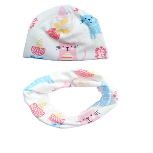 New Fashion Style Cartoon Baby Scarf Hat Set Colorful Cotton Warm Neck Infant Cap Scarves Suit Top Quality Hot Sale 7sl ff