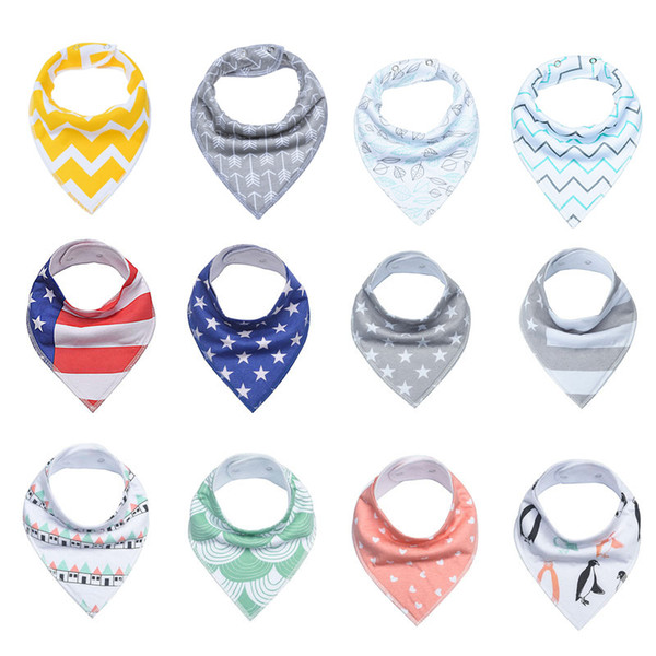 INS Baby Arrow usa flag Dot Floral Bibs Infant Triangle Scarf Toddlers Cotton Bandana Burp Cloths multiple styles C3144