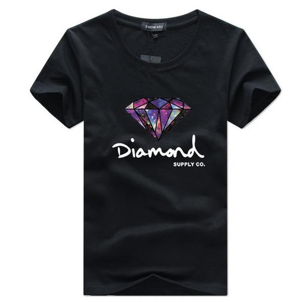 Camiseta de moda para hombre Camiseta de manga corta Camiseta de skate Marca Hip Hop Diamond Impreso Nuevo Verano Algodón Hombre Tops Tees Streetwear