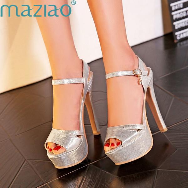Venta al por mayor Más el tamaño 46 Verano Mujer Sandalias Gladiador Sandalia Plataforma Tacón alto Lujo Oro Plata Negro Sexy Zapatos de boda Mujer