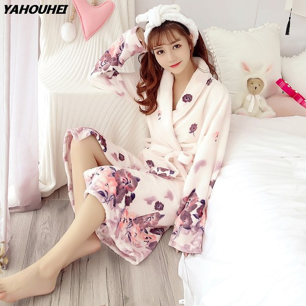 Thick Warm Flannel Robes for Women 2018 Winter Fashion Long Sleeve Floral Print Coral Velvet Bathrobe Female Sleepwear Homewear