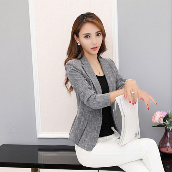 design senza tempo a7e1a 9941c Acquista Blazer Grigio Donna Plus Size Giacca Da Ufficio Blazer Suit  Cardigan Slim Fit TEkose Ceket Casual Work Office Wear Sexy KC5C068 A  $59.23 Dal ...