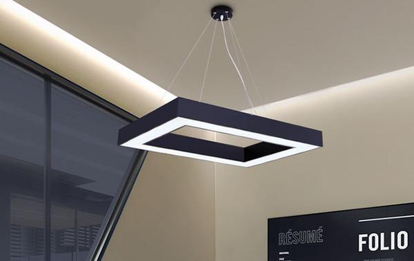Basit Modern LED Işık Kolye Metal kolye Fikstür Luminaria İçin salonu Çalışması Yatak Ev aydınlatma Kare şekilli