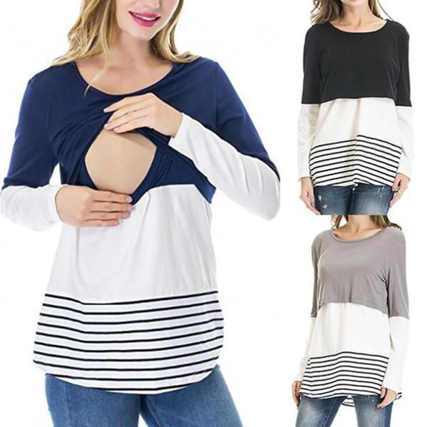 Mutterschaft Langarm Nursing Tops T-Shirt Gestreift Stillen Spitze Patchwork Lässige Top Unterhemd Kleidung OOA5906