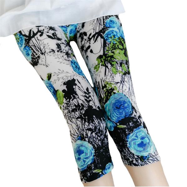 Hot Sale Floral Printed Legging Women Short Leggings Slim Skinny Elastic Stripe Soft Star Dot Stretch Colorful Leggins Womens Trousers