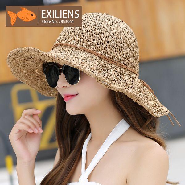 4ef9551e6 EXILIENS 2017 New Lady Fashion Summer Brand Women'S Sun Hats Woman Cap  Breathable Straw Folding Big Brim Shade Sunscreen Girl Summer Hat Straw  Cowboy ...