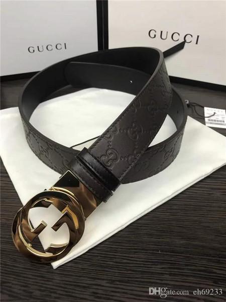 2018 (with Box)fashion Belts for Men Ratchet Leather Durable Good Belt Size 36 Xxl Simple Strap Automatic No Buckle Mens Lengthen 100-125cm
