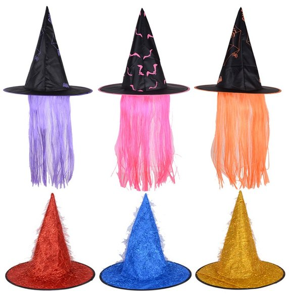 Hot Sale Halloween Witches Hats with Hairs Colorful Festival Performance Costume Hat for Women Free Shipping