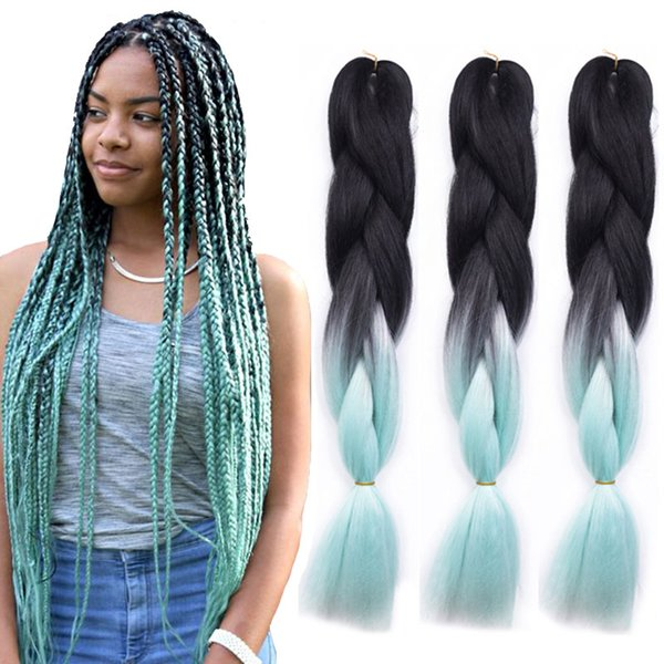 Two Tone Jumbo Braid Hair Extensions Ombre Braiding Hair Afro Box Braids Crochet Braids Synthetic Fiber Hair 100g/Pack Wholesale Price