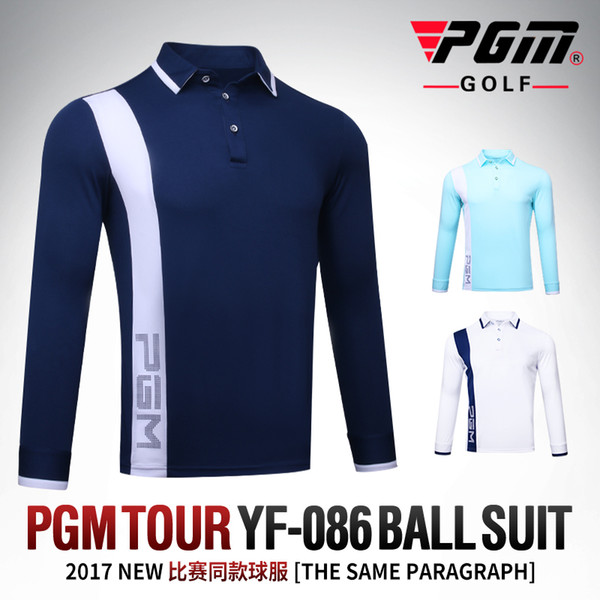PGM New Golf Clothes Golf POLO Shirt Men's Outdoor Sports T-shirt Autumn Thick Wind Keep Warm Quick Dry Long Sleeve TennisTshirt