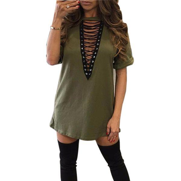 Women Shirts Dress Choker V -Neck Short Sleeve Loose Dresses 2018 Summer Casual Shirts Sexy Mini Dress Mujer Club GV529