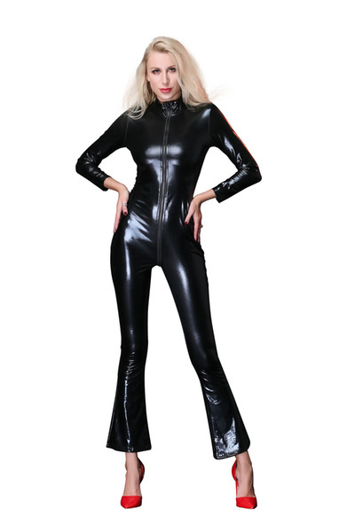 M-XXL High Quality Women Sexy Clubwear Stage Dance Clothes Erotic Black Leather Bodycon Bodysuit Open Crotch Zipper Zentai Catsuit