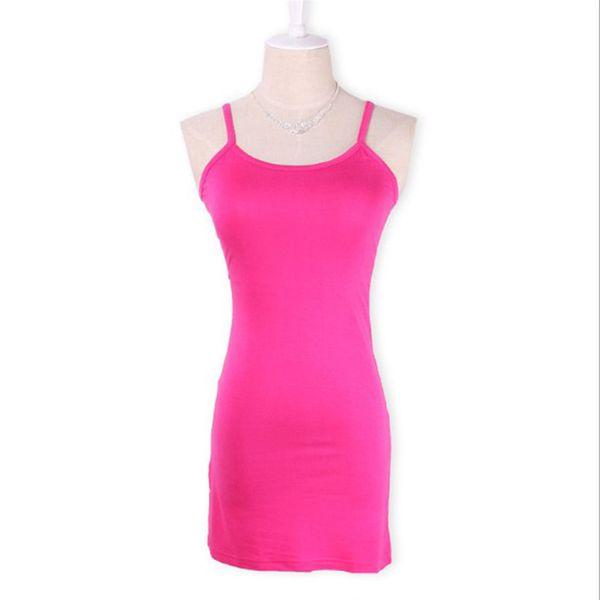best selling 20pcs Women 12 Colors Casual Cotton Camisole Modal Spaghetti Strap Long Tank Tops Spaghetti Strap Vest Basic Slip Mini Dress