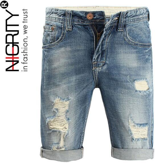 Men Jeans 2018 Summer Casual Men Jeans Shorts Hole High Quality Fashion Knee Length Ripped Jean For Men Brand Pants Shorts