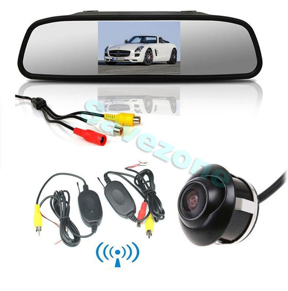 "Wireless Auto Front /Side/Rear View Reverse Backup Camera 360° Rotateable + 4.3"" TFT LCD Car Rear view Mirror Monitor Receiver /Transmitter"