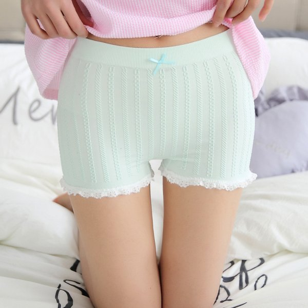Half-rising posture Women Safety Short Pants Cool Safety Underwear Breathable Pants Seamless Pure color lace