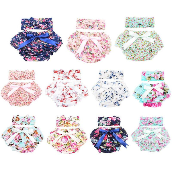 2pcs/set Baby Girls Underwear with Headband Ruffles Flower Print Baby Diapers Briefs Underpants Girl Nappies Training Panties