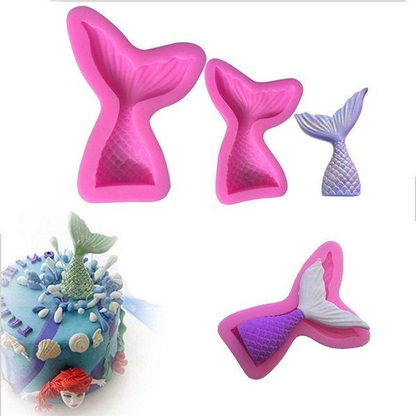 Venta al por mayor 1 UNID DIY Mermaid Tail Silicona Fondant Cake Cake Decorating Baking Tool (en color al azar)