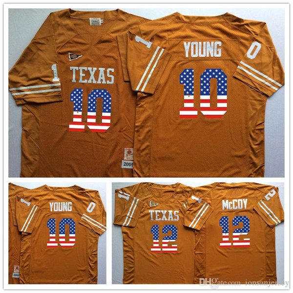 2018 Texas Longhorns YELLOW 34 Ricky Williams 12 Colt McCoy 10 Vince YOUNG College Football Jersey Men Flag Jerseys