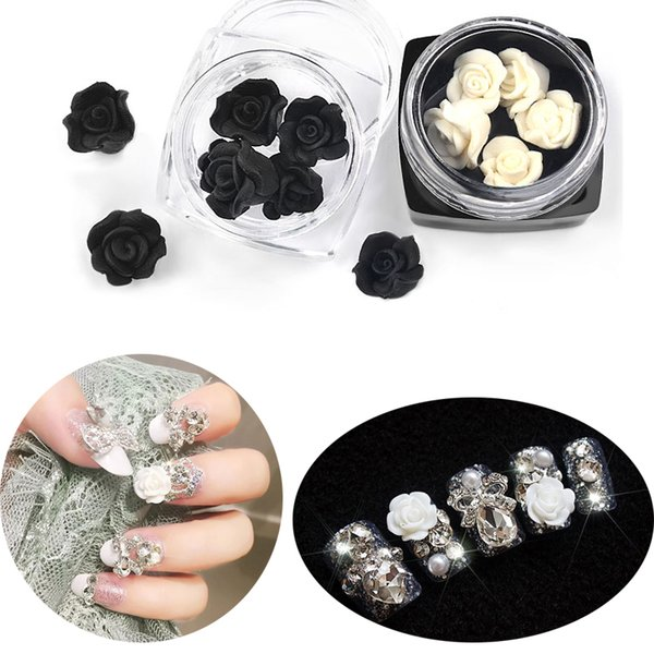 10pcs Black White 3d Rose for Nail Arts Charms Jewelry for Manicure Decoration DIY Rose Flower Design UV Gel 3D Nail Accessories
