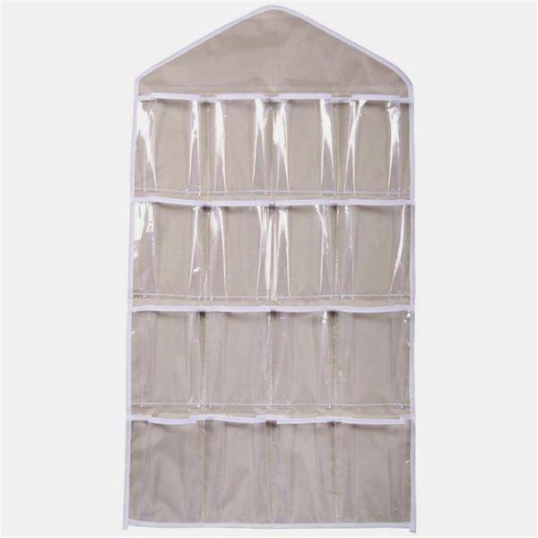 Wholesale-16Pockets Clear Hanging Bag Socks Bra Underwear Rack Hanger Storage Organizer Jun27 Professional Factory price Drop Shipping