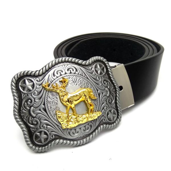 Cinturones de vaquero para hombres Cinturones de hebilla grandes para hombre grande con ciervo dorado hebilla de metal vaquera Cinturón de cuero para jeans cinto masculino