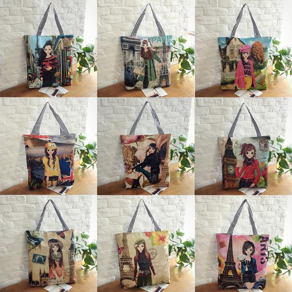 European and American fashion, simple cartoon shopping bag, leisure printing, single shoulder handheld bag