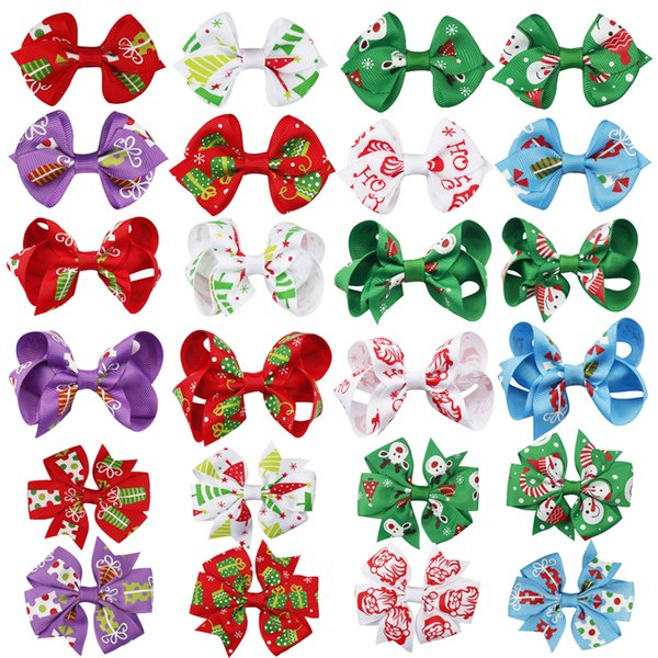 Christmas Pinwheel Hair Clips Xmas Grosgrain Ribbon Hair Grips For Girl Kids New Year DIY Headwear Hair Accessories