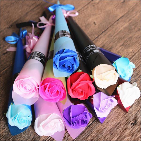 Rosas flores de jabón creativo romántico con favores de la boda Rose jabones flores para regalo de San Valentín día de la madre regalos 0287