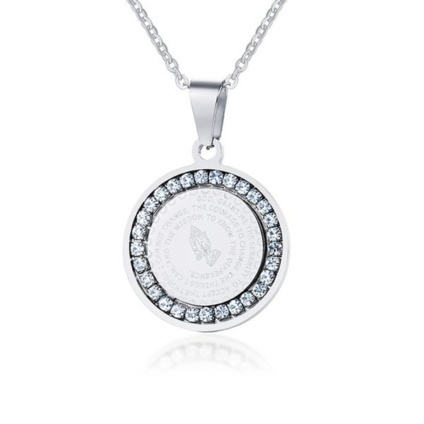Bling Cubic Zirconia Pendant Necklace for Women Christian Jewelry Stainless Steel Bible Praying Hands Coin Pendant