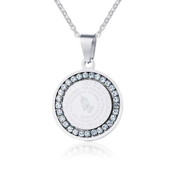 Bling cubique zircone pendentif collier pour les femmes bijoux chrétien en acier inoxydable Bible priant mains pendentif pièce