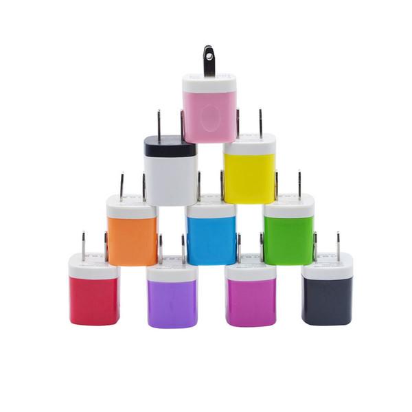 10 colores 5V 1A EE. UU. USB AC cargador de pared Home Travel Charger Adapter Mini cargador USB para Samsung Iphone 7 8 x Smartphones mp3 pc