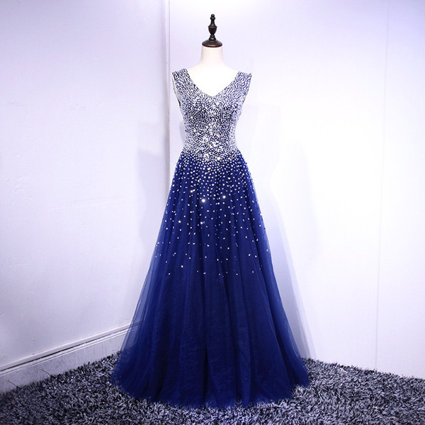 Fancy Royal Blue Ball Gown Prom Dresses 2018 Real Pictures Shining Sequins BeadsLace-up Back Evening Dresses