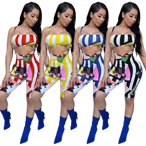 Salopette da donna Sexy Club Salopette Chest Wrap Two Piece Set Stampa con pannelli a strisce Top con bretelle Outfit Trendy Short Suspender Pantaloni Bra Sport Suit
