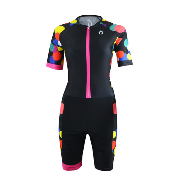EMONDER Women Triathlon Cycling Conjoined Clothing Customized MTB Road Bike Bicycle Jersey Racing Team Short Sleeve Jumpsuit