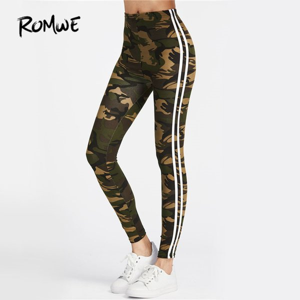 ROMWE Camo Fitness Leggings 2018 Women Striped Side Workout Legging Top Quality Fashion New Casual Skinny High Waist Leggings S18101502