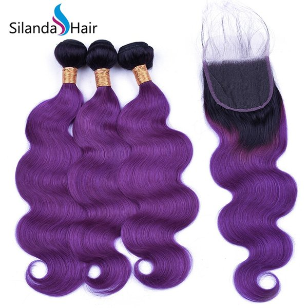 Silanda Hair Ombre Color Dyed #T 1B/Purple Body Wave Brazilian Remy Human Hair Weaving Bundles With 4X4 Lace Closure Free Shipping