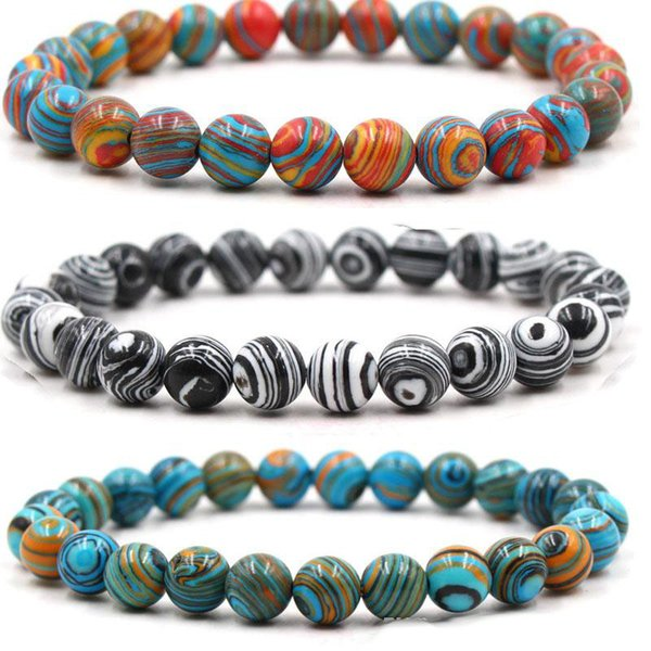 Braccialetti di perline in pietra naturale di malachite multicolor 8mm Braccialetti di arenaria blu per bracciali per donne Reiki Braccialetto di preghiera