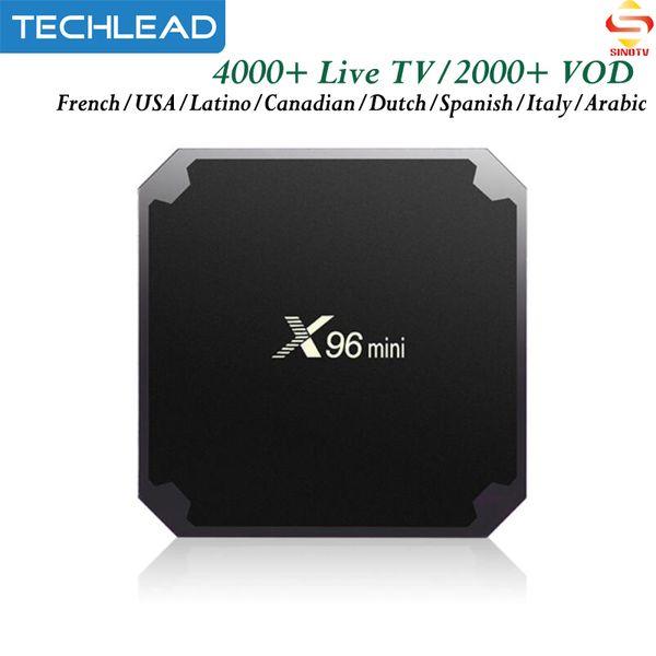 X96 Mini French IPTV Box 4K Android 7.1 USA Canada Spanish Full HD Europe TV Subscription UK Dutch Portugal Arabic Channels SINOTV 1 Year