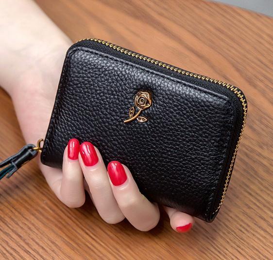Nova alta qualidade de couro genuíno cartão das mulheres bolsas de grife senhora de couro de vaca zero carteiras moda feminina casual embreagens no47