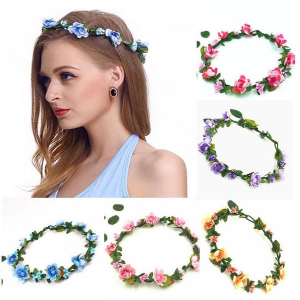Girls Sweet Lovely Simulation Flower Headband Wedding Princess Vacation Garland Bohemia Hair Accessories For Big Kids Bride DDA470